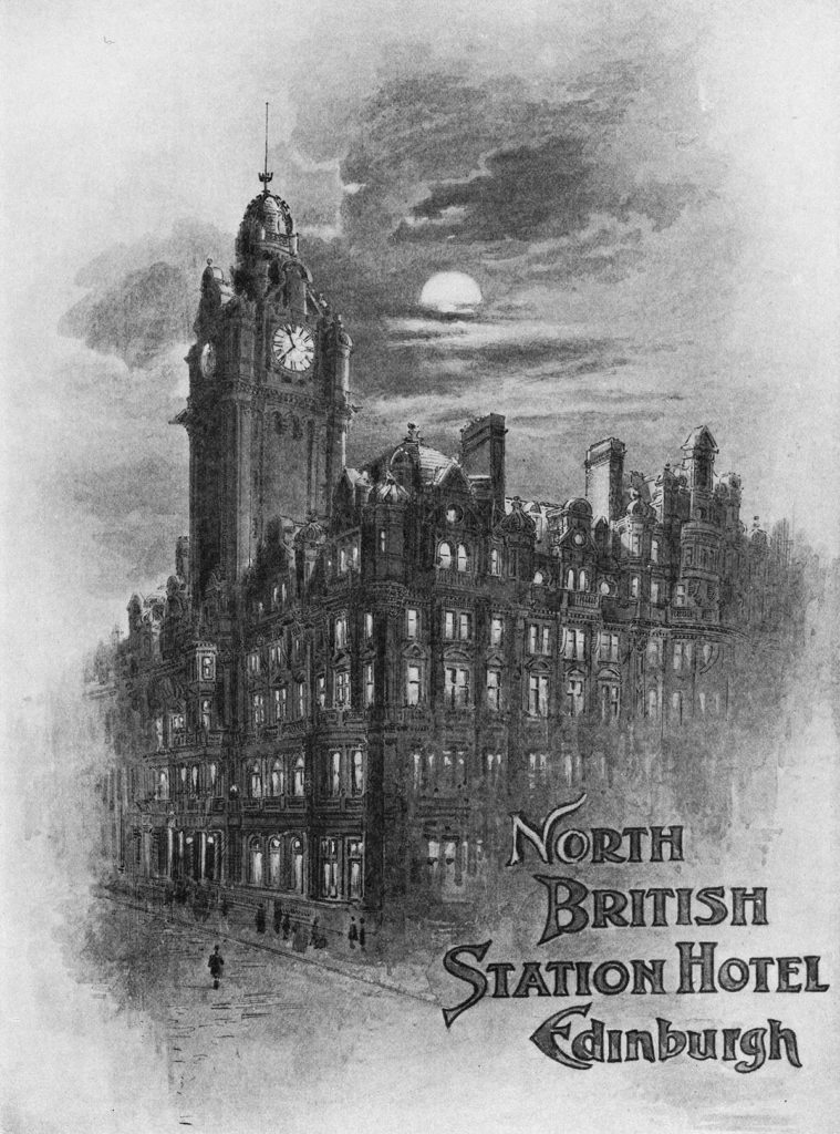 """An illustration of a large building with a prominent clock tower and the words """"North British Station Hotel, Edinburgh"""""""