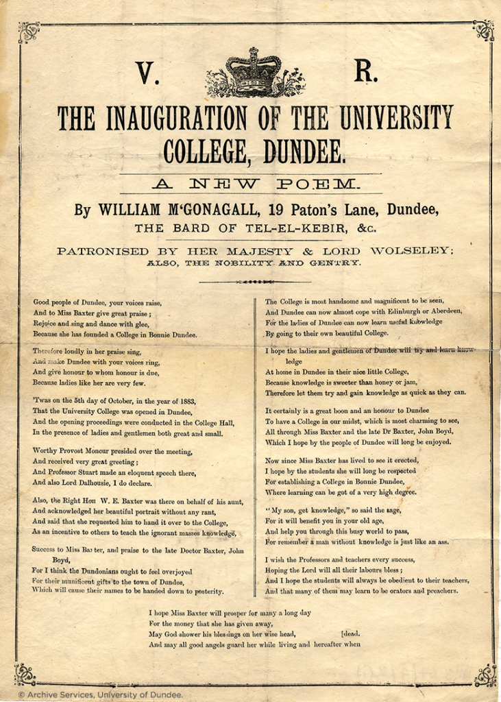"""The Inauguration of the University College, Dundee"", by William McGonagall."