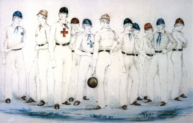 sketch of 19th century boys wearing white sporting clothing, a bit like the kits they wear in American Baseball today
