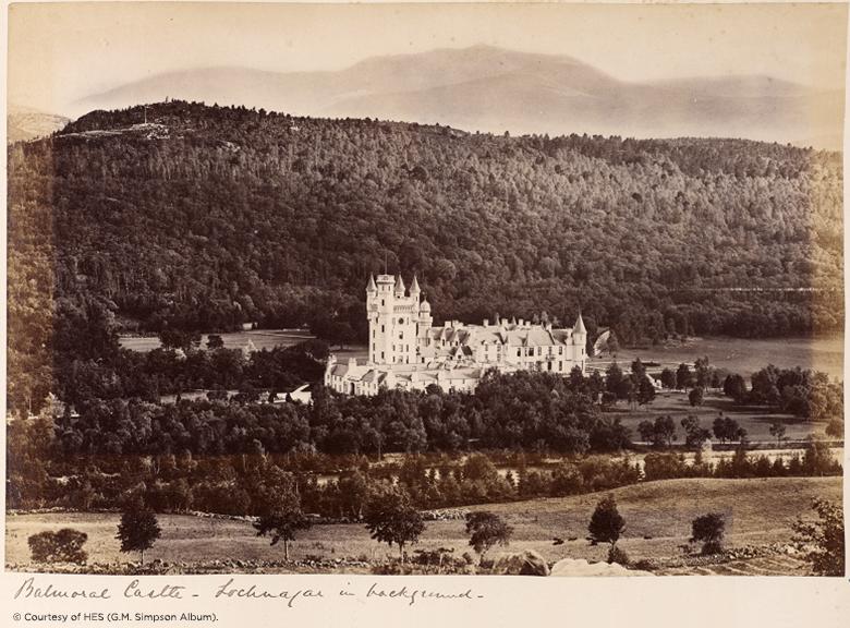 sepia postcard showing Balmoral.