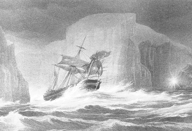 A drawing of a sturdy ship passing enormous icebergs on a rough sea