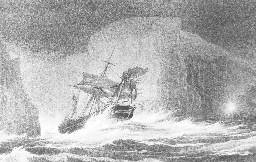 A painting of a Victorian ship travelling through icy seas