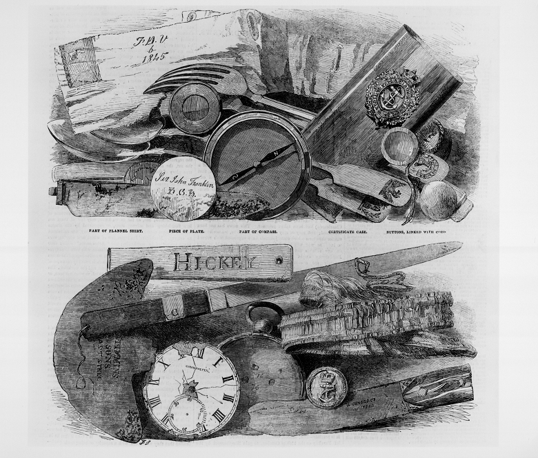 A drawing of various personal items including watches, cutlery and papers