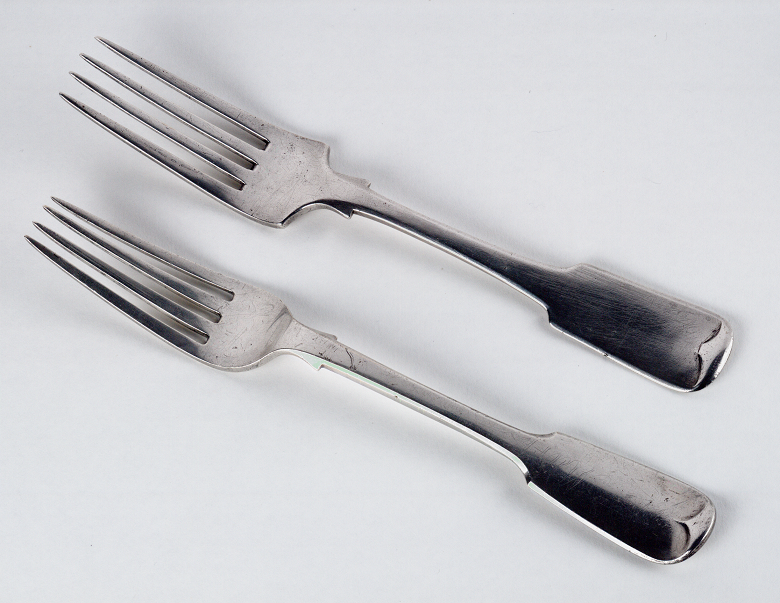 Two silver forks