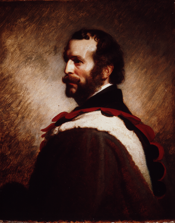 A portrait of a bearded man wearing red and white robes