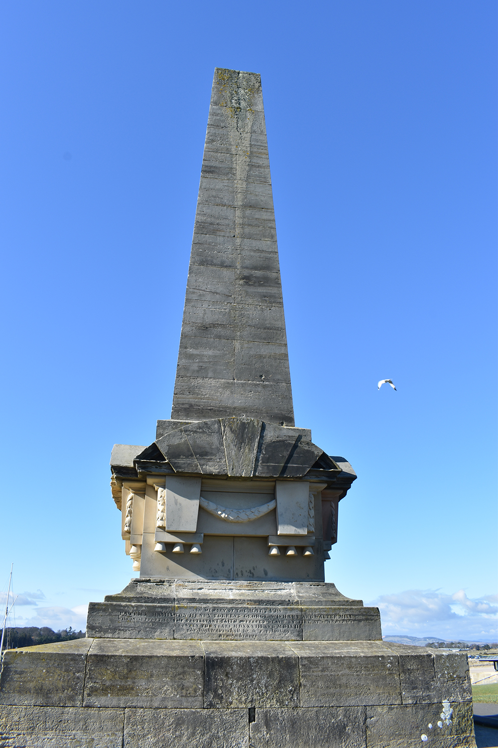 Tall obelisk with a carved inscription on its plinth, and a herring gull flying past.