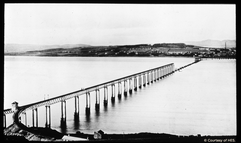 The Tay rail bridge with the middle section destroyed by the accident.