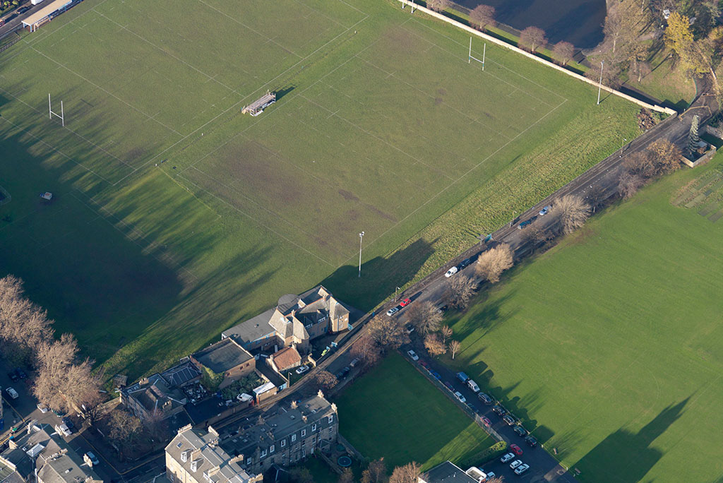 aerial view of the rugby pitch
