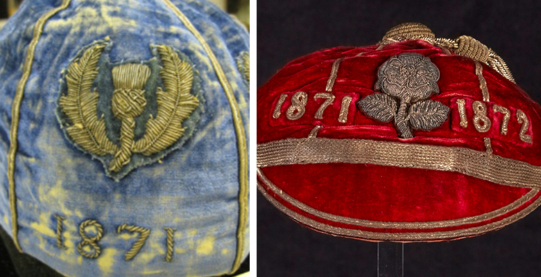 two images of embroidered caps. A blue cap is embroidered with the thistle of Scotland. A red cap is embroidered with the English rose