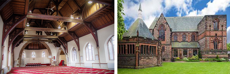 Images side by side showing the interior hall of Iqra Academy and the exterior of the Victorian building