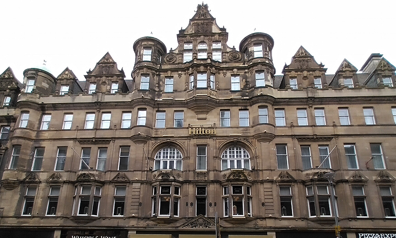 façade of the Carlton Hotel (now the Hilton)