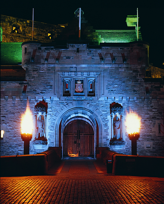 castle entrance with flaming torches either side of a wooden door