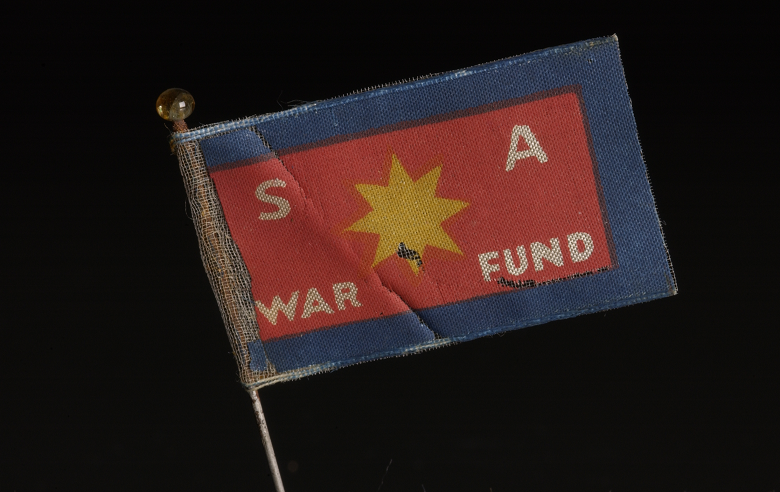 A small red and blue flag with a yellow star at the centre