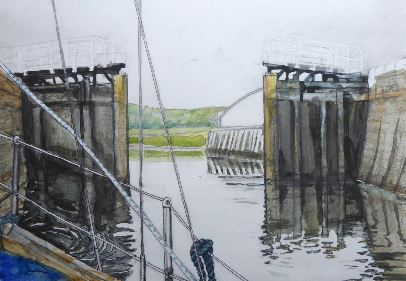 A painting of an open canal lock from the perspective of a passenger on a yacht. The edge of the yacht and part of its sails can be seen in the foreground
