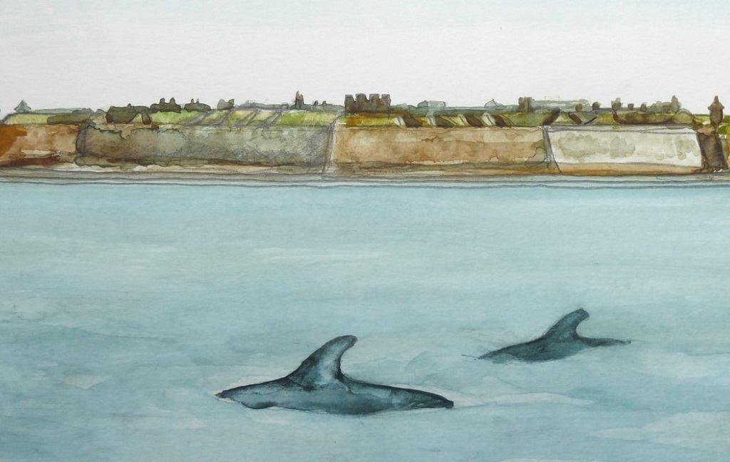 A painting of two dolphins playing in the sea in front of the stone walls of a military fort