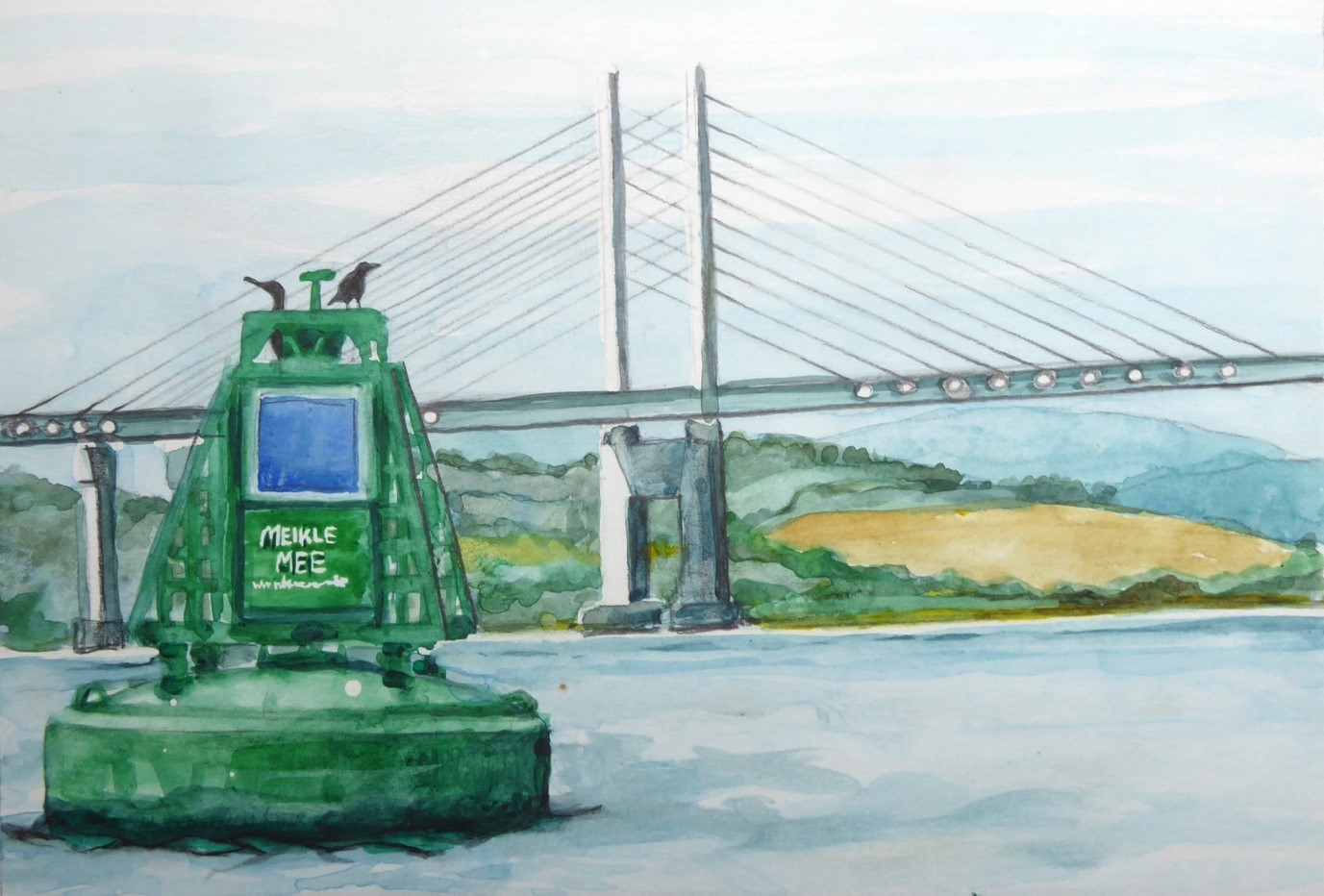 A painting of a large green buoy positioned in the sea in front of a large, modern road bridge