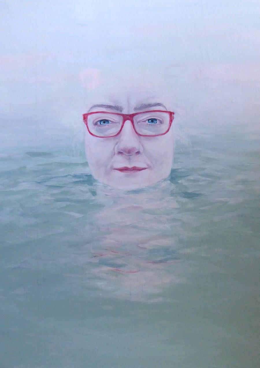 A self portrait of Morag Edward swimming in open water