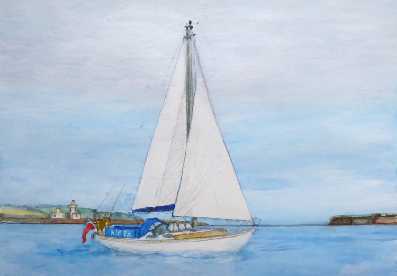 A painting of a small white yacht with white sails on calm water