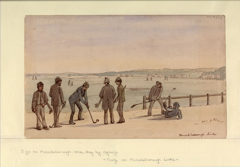 A painting of a group of golfers playing a links course, including what appears to be an angry altercation with one golfer standing menacingly over another who has fallen on the ground