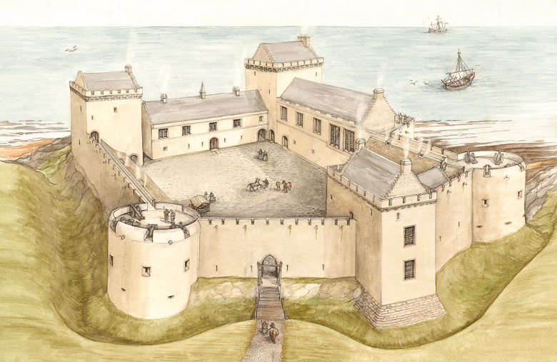 A drawing of a coastal castle being accessed from the water by medieval sailing ships