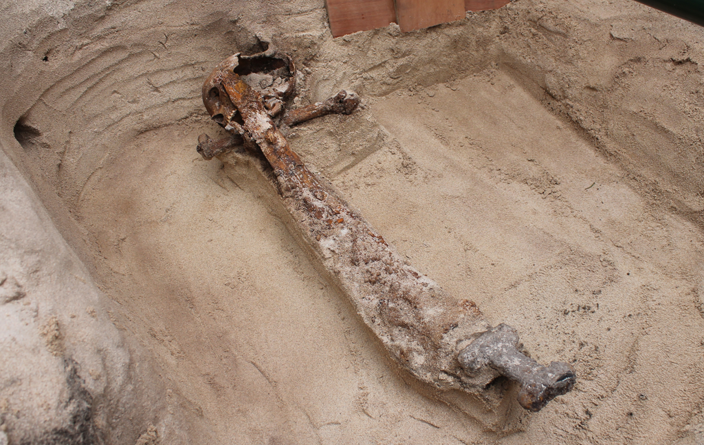 sword and skull from viking burial