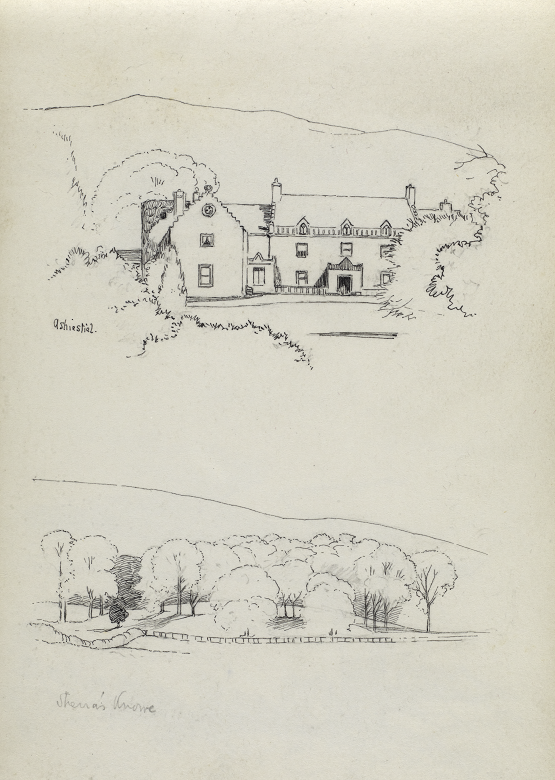 Two simple sketches of property once owned by Walter Scott on a single sheet of paper. One is of a farmhouse surrounded by trees with a mountain or hill in the background. The other is of a small wood or copse, again with hills in the background.