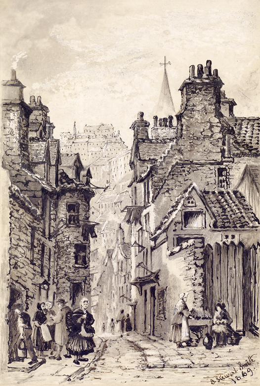 A sketch of a busy street in Edinburgh's Old Town. Various figures are milling about, and Edinburgh Castle can be seen high on a rock in the background