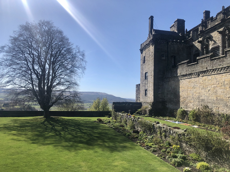 castle garden in the sunshine