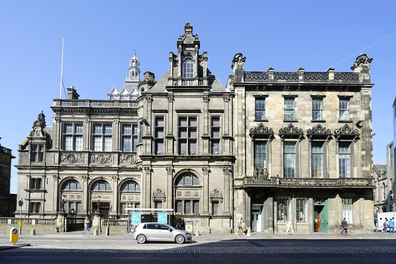 A large and grand library building in Edinburgh's Old Town