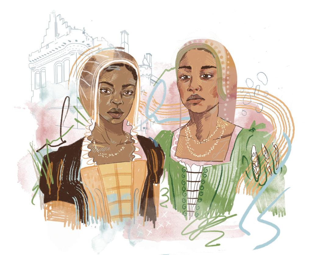 Two Black women wearing historical garb