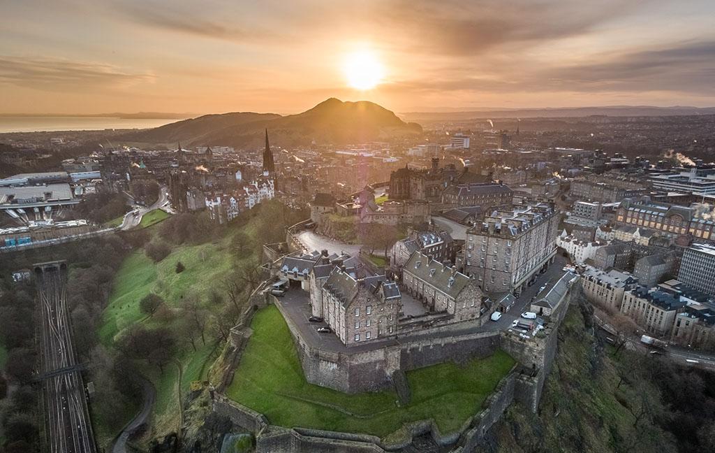 aerial view of Edinburgh skyline at dawn