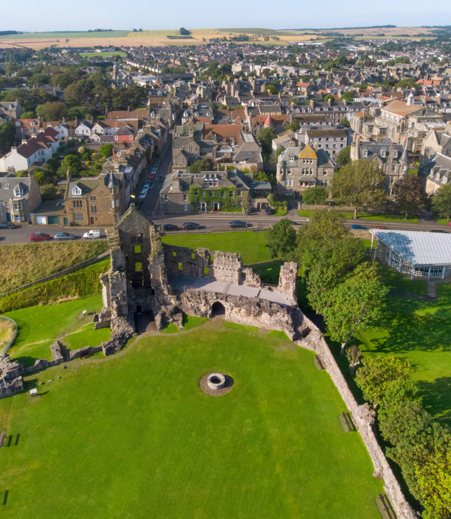 A view looking over St Andrews Castle and towards the town